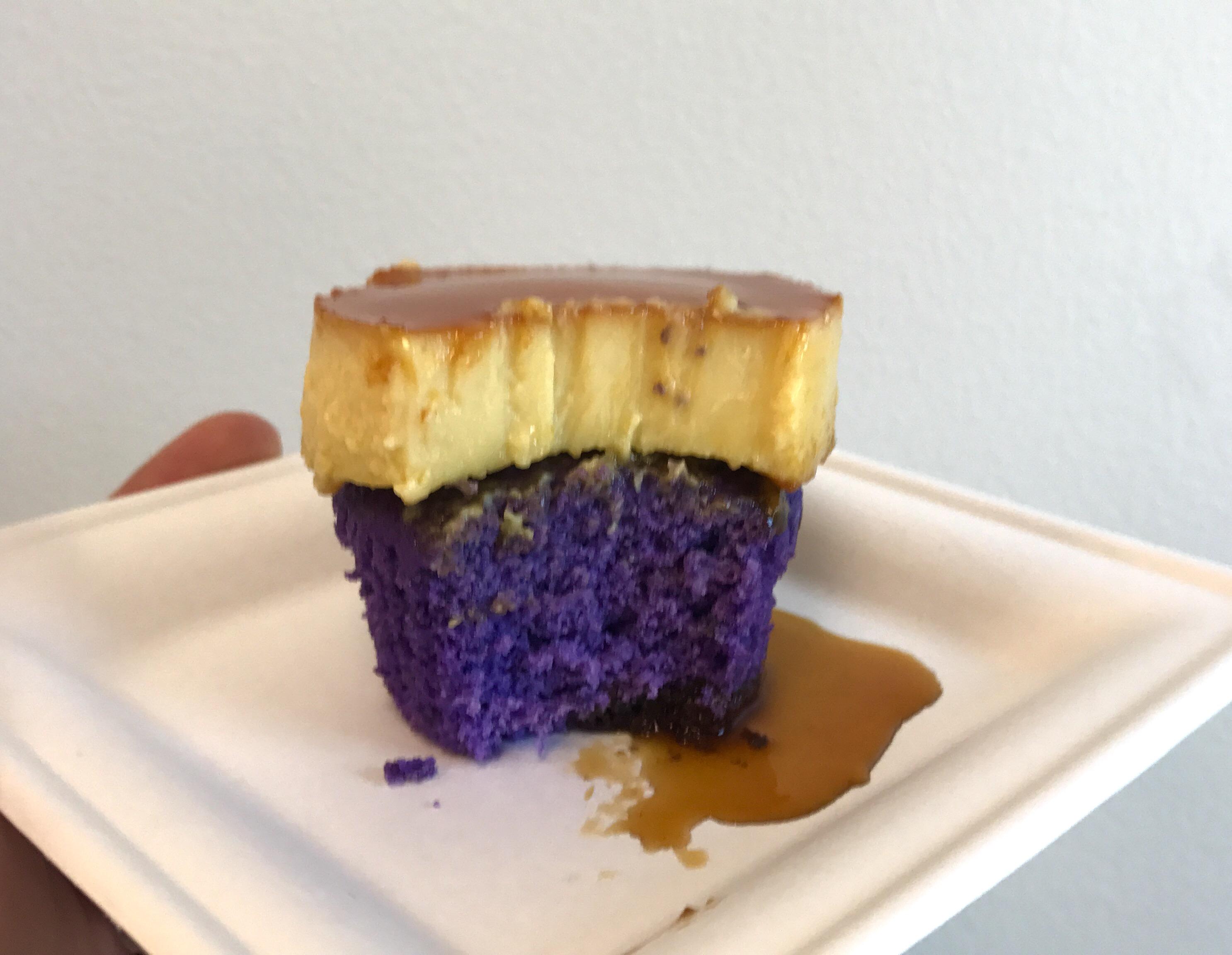 ube and flan cupcake bite