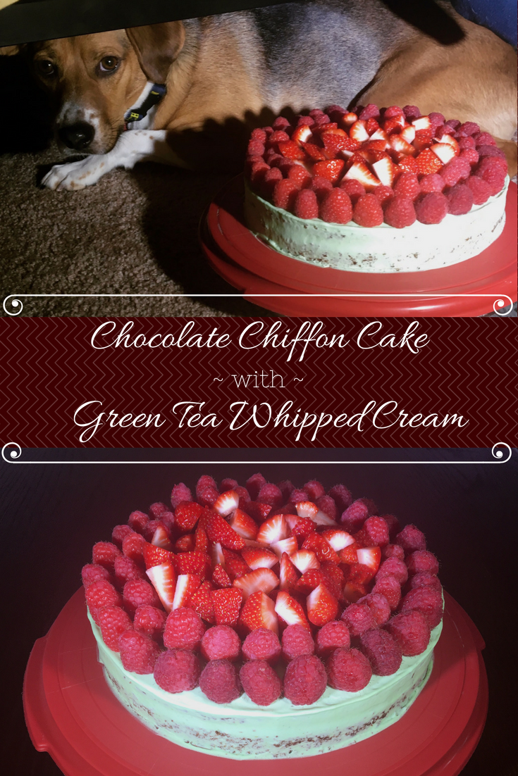 pin for chocolate chiffon cake with green tea whipped cream